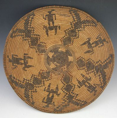Apache Native American Indian Baskets, - Apache Figurative Polychrome Basket