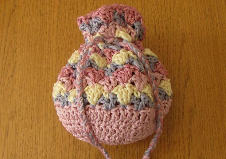 VERY EASY crochet drawstring bag tutorial - crochet purse for beginners