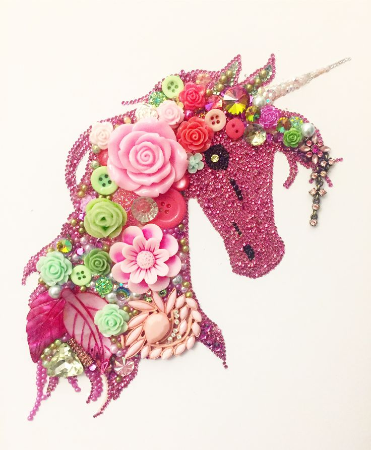Beautiful Tropical coral Unicorn button art...perfect for any unicorn loving girls bedroom Super sparkly with added Swarovski crystals £65.00 plus P&P