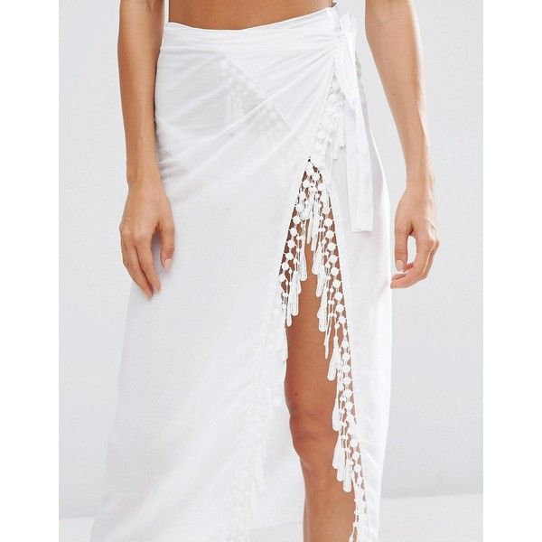 ASOS Fringed Wrap Front Beach Sarong (£18) ❤ liked on Polyvore featuring swimwear, cover-ups, asos swimwear, beach cover ups, fringe swimwear, beach sarong and rayon sarong