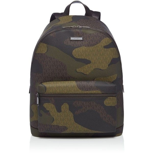 Michael Kors Jetset Camo Backpack ($385) ❤ liked on Polyvore featuring men's fashion, men's bags, men's backpacks, bags & luggage mens bags, mens camo backpack and mens backpack