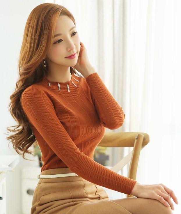 StyleOnme_Jeweled Neckline Glittery Ribbed Knit Tee #stylish #glittery #camel #orange #ribbed #tee #feminine #elegant #koreanfashion #kstyle #seoul