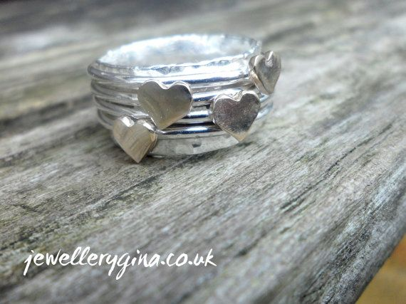 Cute little heart wide band spinning ring worry by Jewellerygina.co.uk