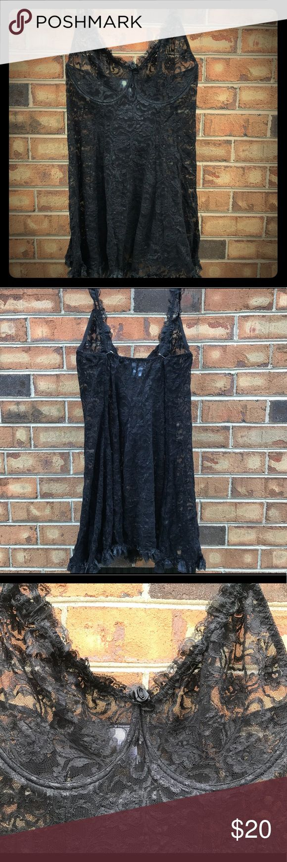 NWOT Enchanted black lace lingerie NWOT Enchanted Black lace lingerie with attached panties. Has never been worn panties are still attached. This is incredible sexy lingerie piece that would make your night in a lot more fun.  It does have stretch. Please view all photos and ask any questions prior to purchasing. I do consider offers. Happy shopping. enchanted Intimates & Sleepwear Chemises & Slips
