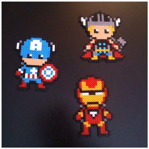 Thor, Captain America et Iron Man en perles à repasser (voir modèles)