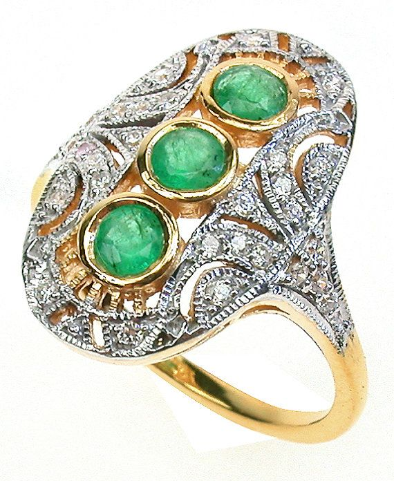 Art Deco Emerald Ring with Diamonds, 9ct 9k 14k 18k Solid Yellow White Gold, Oval Antique Diamond Ring, Women's Vintage Emerald Ring, R309A