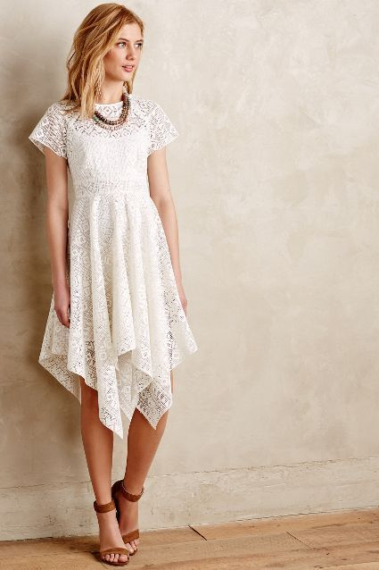 Prima Lace Dress - anthropologie.com #midi_dress #handkerchief_hem #white_is_right_now