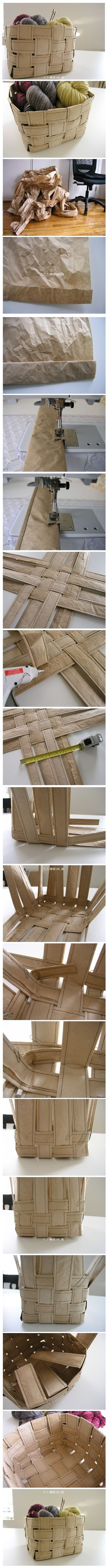 sewing 101 recycled paper basket by Brett This is brilliant. Must try someday.