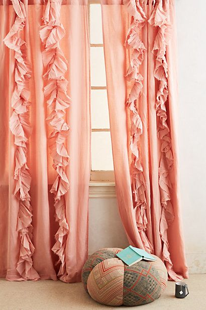 Anthropologie Wandering Pleats Curtains in light red