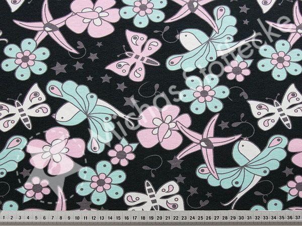Michas Stoffecke - Stretchjersey Birds and Flowers schwarz V-EP-PL-1314-Z-EV