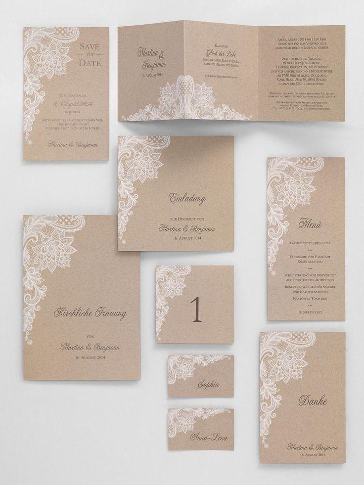 Vintage-Kartenserie mit braunem Kraftpapier und Spitzendruck in Weiß von sweetwedding bei www.weddingtyle.de