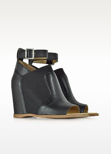 Black Leather Wedge Sandal w/Ankle Wrap - MM6 Maison Martin Margiela / メゾンマルタンマルジェラ