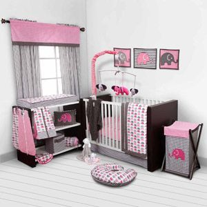 Bacati Elephants 10-Piece Nursery in a Bag Crib Bedding Set - Bumper Free, Pink/Gray