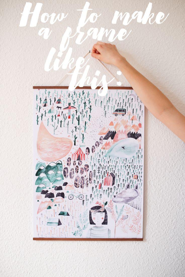 Diy wooden poster hanger herzundblut com