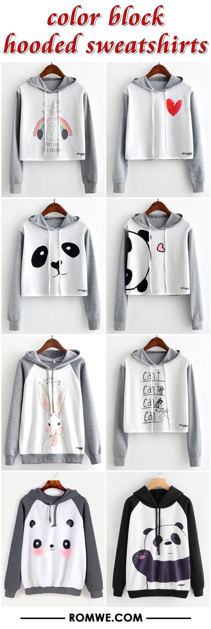color block hooded sweatshirts from $7.99 - romwe.com