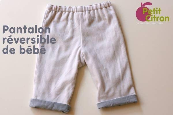 pantalon-reversible-bebe patron gratuit