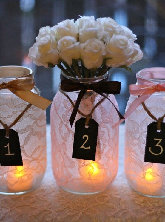 Lace covered mason jars???: Covers Mason, Lace Mason Jars, Chalkboards Tags, Lace Covers, Lace Jars, Tables Numbers, Centerpieces, Masonjar, Center Pieces