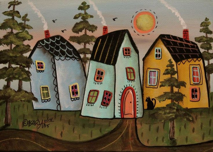 Three Houses ORIGINAL Canvas Panel PAINTING FOLK ART 5 x 7 Trees Cat Karla G #FolkArtAbstractPrimitive