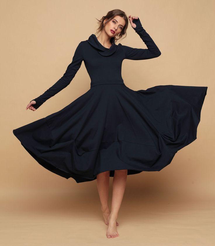 """Купить Платье """"Тетра - Синий иней"""" - тёмно-синий, однотонный, платье, платье трикотажное"""