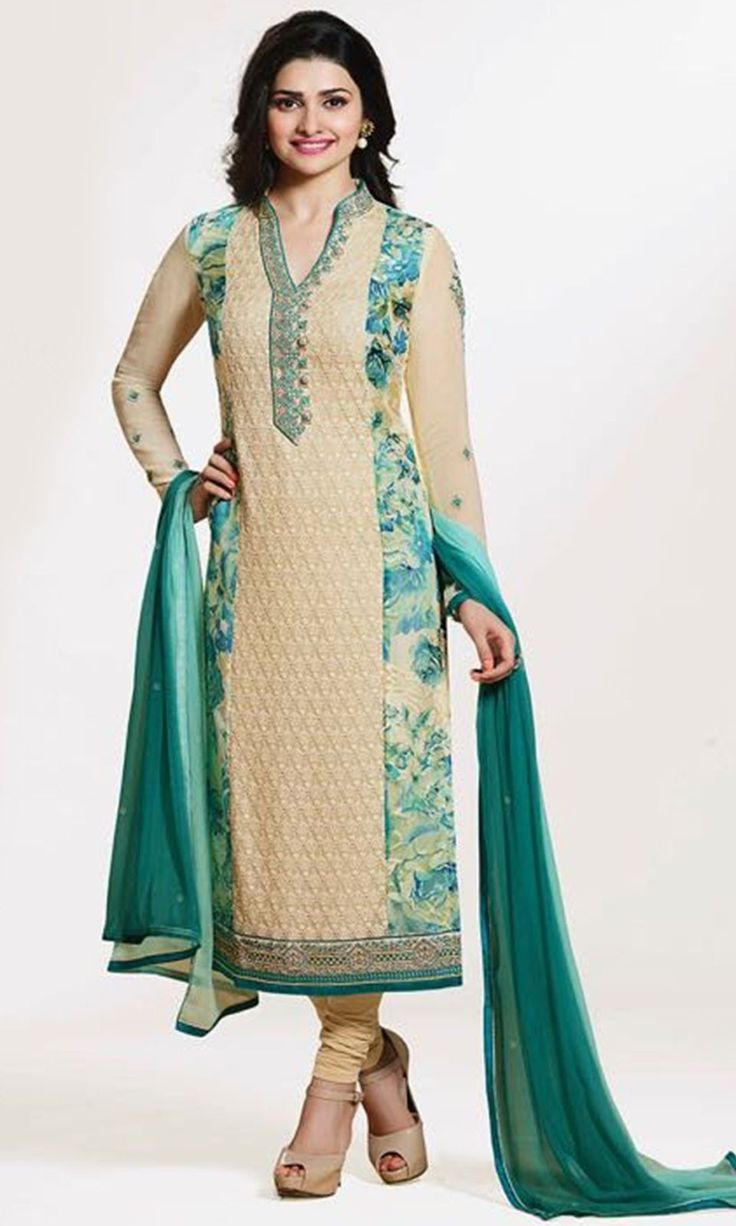 Buy online Churidaar Beige Party wear Straight Cut Suit (SKU Code : SUEBRVF4654) at Ishimaya Fashion.