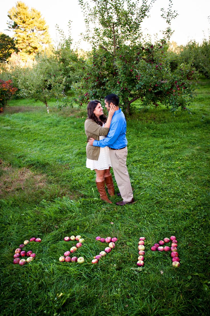 Casey Durgin Photography  Apple Save the Date #engagementpictures Fall engagement Pictures, apple orchard
