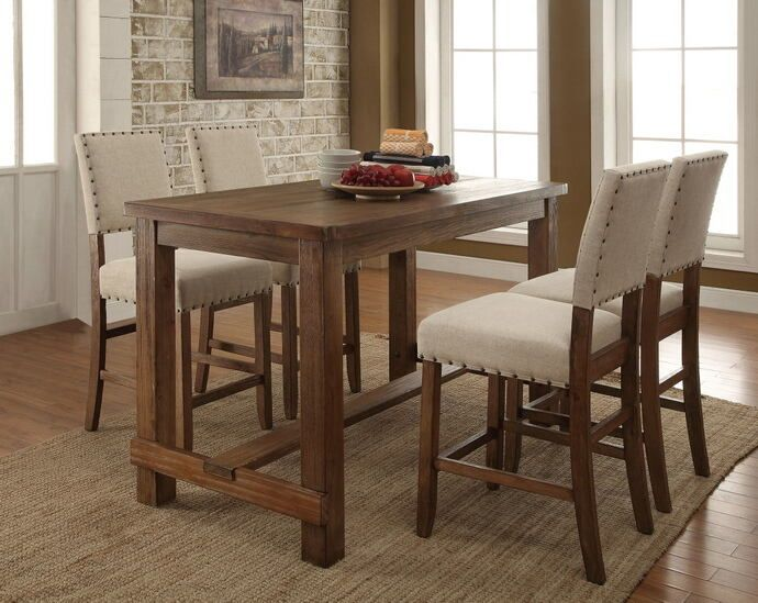 Cm3324pt 5pc 5 Pc Sania Natural Tone Finish Wood Counter Height