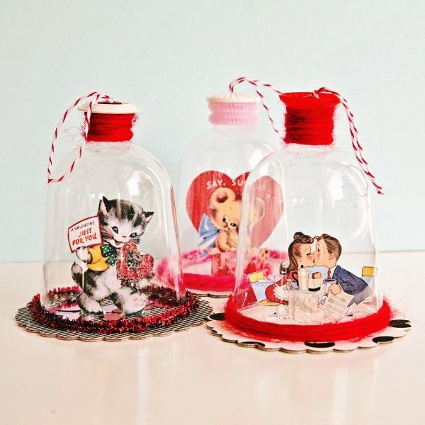 DIY Valentine's Day Bell Jars. Look for the link to the tutorial or go here http://www.mysocalledcraftylife.com/2012/11/06/diy-vintage-inspired-bell-jar-ornaments/.