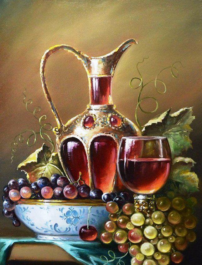 натюрморт с виноградом и вином - Схемы вышивки - ipkazanova - Авторы - Портал «Вышивка крестом»