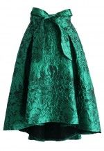 Glam Floral Embossed Waterfall Skirt in Emerald