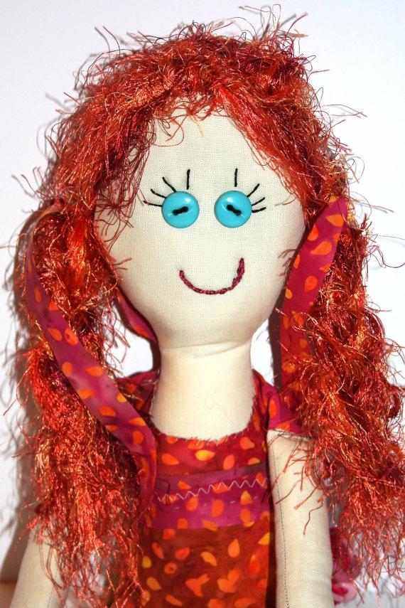 Redheaded Reba  One of a Kind 17 Handmade Rag by GinsLilCharacters, $40.00