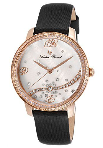 Lucien Piccard Women's LP-16520-RG-02S-BKSS Mirage Analog Display Quartz Black Watch. Round watch with crystal-encrusted bezel featuring sunray mother of pearl dial with crystal accents. 36 mm stainless steel case with synthetic-sapphire dial window. Quartz movement with analog display. Leather band with buckle. Water resistant to 50 m (165 ft): In general, suitable for short periods of recreational swimming, but not diving or snorkeling.