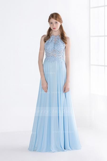SEXY SLEEVELESS JEWEL NECK BACKLESS LONG LIGHT BLUE CHIFFON PROM DRESS