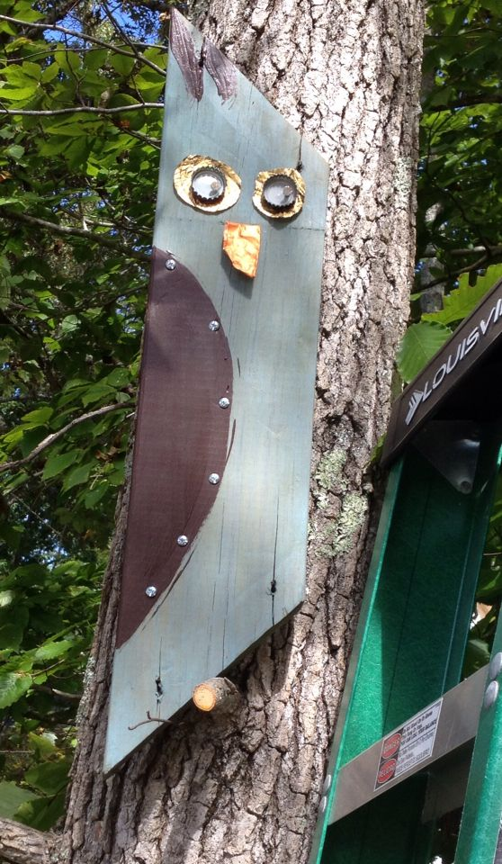 Diy owl diy yard art diy lawn art crafts out of wood for Garden ornaments from recycled materials