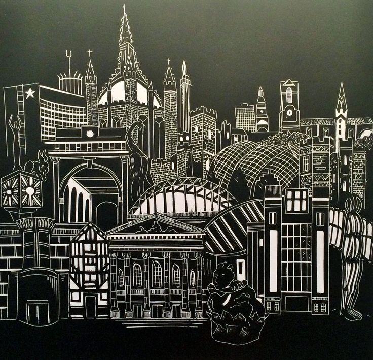 Newcastle, Gateshead skyline architecture lino print. Tyne Bridge, Sage, Baltic, Theatre Royal, Keep, St Marys by StudioPinnock on Etsy