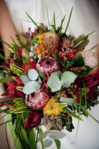 The native flower Boquet, keeping to the  natural elegant Kangaroo valley Theme  Wedding Flowers: Native Appeal (Australian Native Wedding Flowers) » blushingblooms.com.au