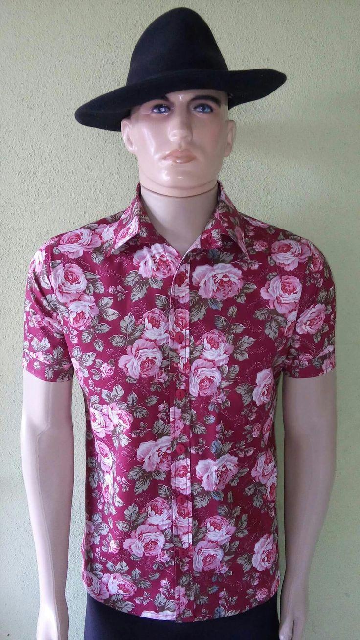 Camisa Masculina Floral Rosa Alfaiatelie