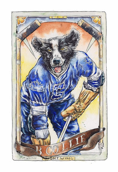 Hockey Dogs - Painting of Vintage hockey card of a Border Collie dog. Painted by hockey artist Cam Wilson. Limited Edition Prints available 20%OFF www.oldskullhockey.com
