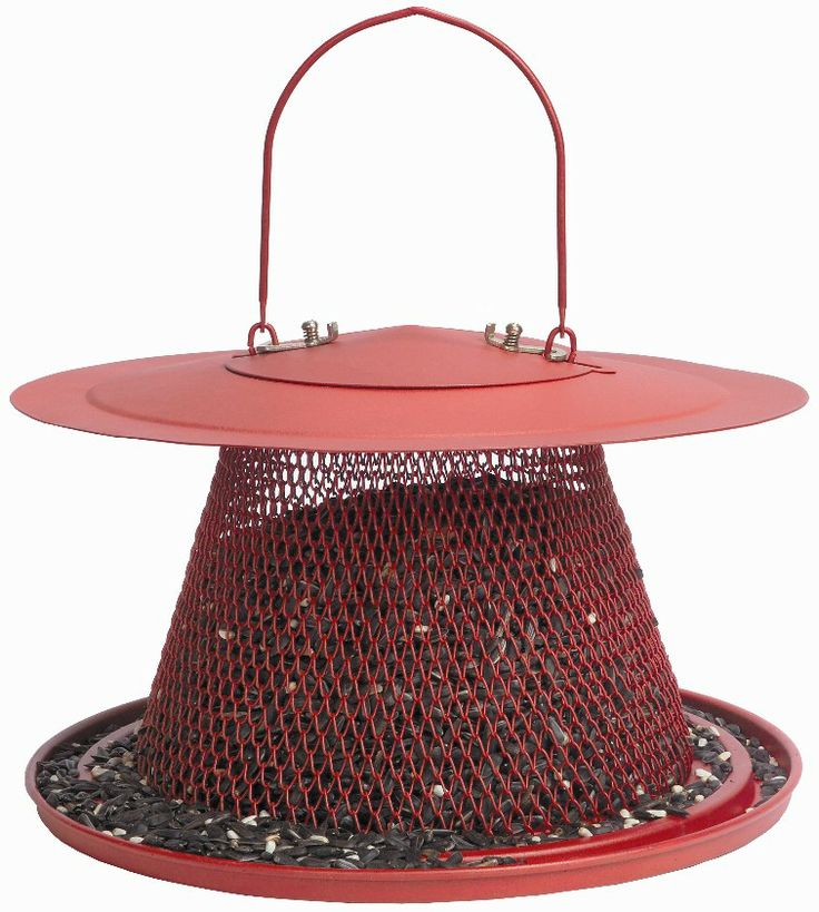 C00322 Roadhouse Red Feeder This attractive, cardinal red feeder is the largest in the Beak Bites expandable bird feeder line and holds up to 2.5 lbs. of black oil sunflower seeds or a sunflower/safflower mix. The large mesh feeding area resists squirrel damage and will feed 10-15 birds at one time.
