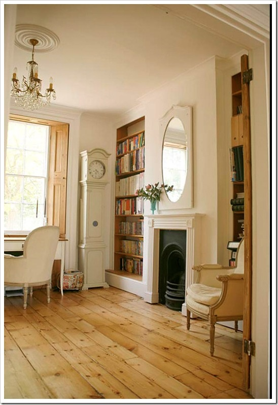 Love this mirror, wooden shutters, wide floorboards etc  - Shabby & Charme blog