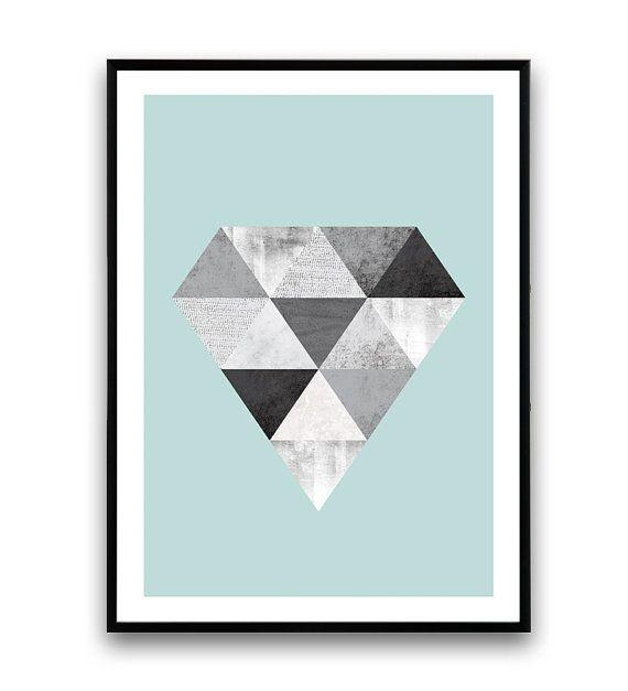 Cartel, diseño escandinavo, arte geométrico, diamond diseño de impresión, nórdicos, triángulos abstratct acuarela, grabado, impresión minimalista del diamante