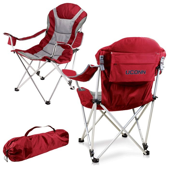 UConn Huskies Red Reclining Camp Chair.  Great as a spectator chair at sporting events or outdoor activities. Visit SportsFansPlus.com for Details.