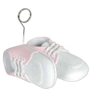 Baby Shoes Photo Holder and Balloon Weight Pink