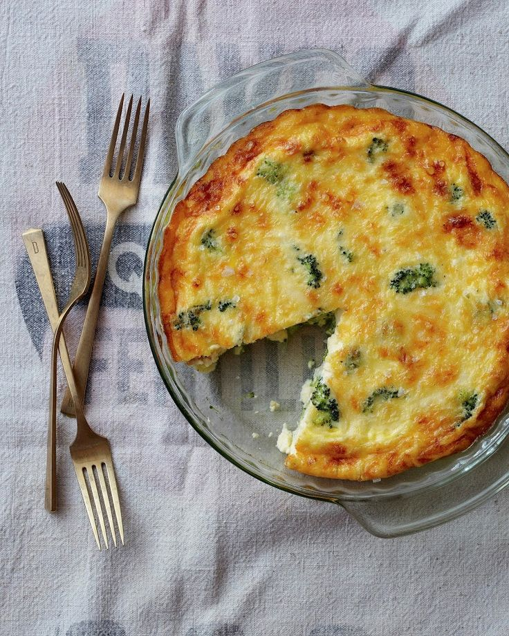 Crustless Broccoli and Cheddar Quiche | A Cup of Jo ~ Made June 2015.  I took it out of the oven a bit early so it was a combination quiche and soufflé and just the way I like it.  Let it sit for about 10 minutes.  YUM!!