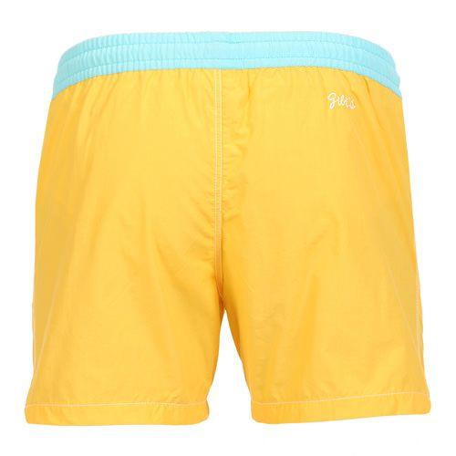 YELLOW MID-LENGHT BOARDSHORTS WITH ELASTIC WAISTBAND Solid yellow nylon mid-length Boardshorts with contrast elasticated waistband and adjustable drawstring. Two front pockets. Back Gili's logo embroidery. Internal net. COMPOSITION: 53% NYLON 47% COTTON lining 100% POLYESTER. Model wears size L he is 189 cm tall and weighs 86 Kg.