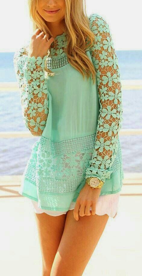 Mint Crochet Lace Blouse with White Short -summer outfit idea - beachy  -beat wear - cute - pretty