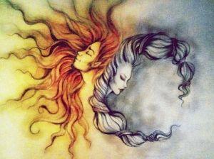 Uma lua preenchida de galáxia (tipo a baleia q eu achei roxa), com as flores, ou toda preta com as estrelinhas. Quase a beijando, uma mulher com os cabelos tipo o do sol, para representa-lo.
