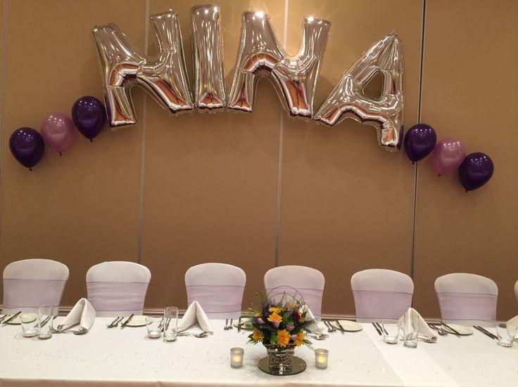 Balloon arch behind main table