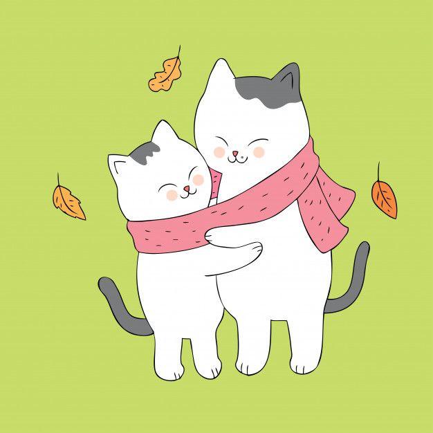 Dibujos Animados Lindo Otono Gatos Abrazos Vector Dibujos De Abrazos Pinturas De Gato Tarjetas De Gato