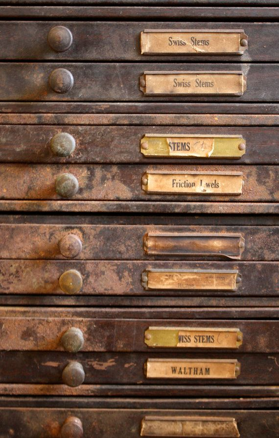 Items similar to RESERVED Steampunk industrial watchmakers cabinet, probably pre-1930, tons of storage on Etsy