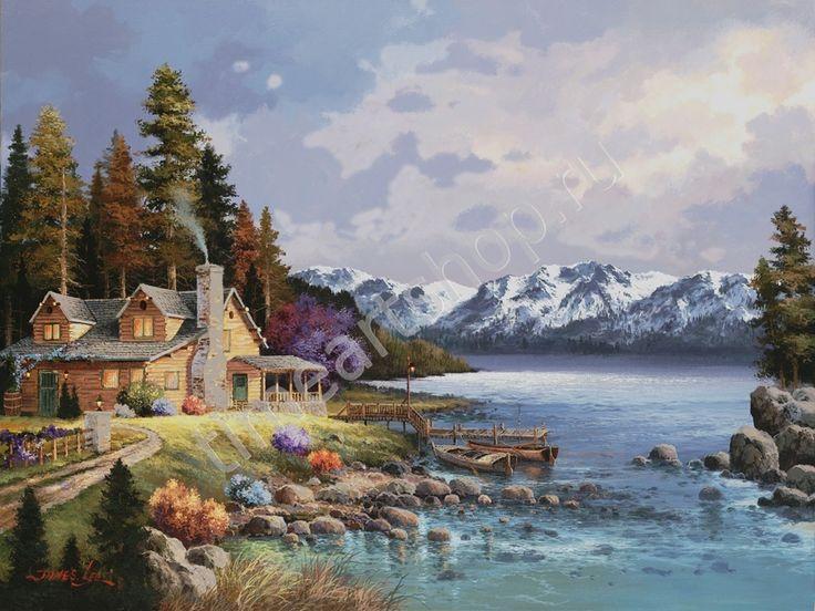 Домик у подножья гор, картины раскраски по номерам, размер 40*50см, цена 750 руб.